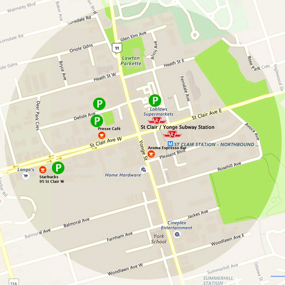 Map of our neighbourhood. We are located across from the Starbucks on St Clair Avenue West. Please arrange an appointment first. Thank you.